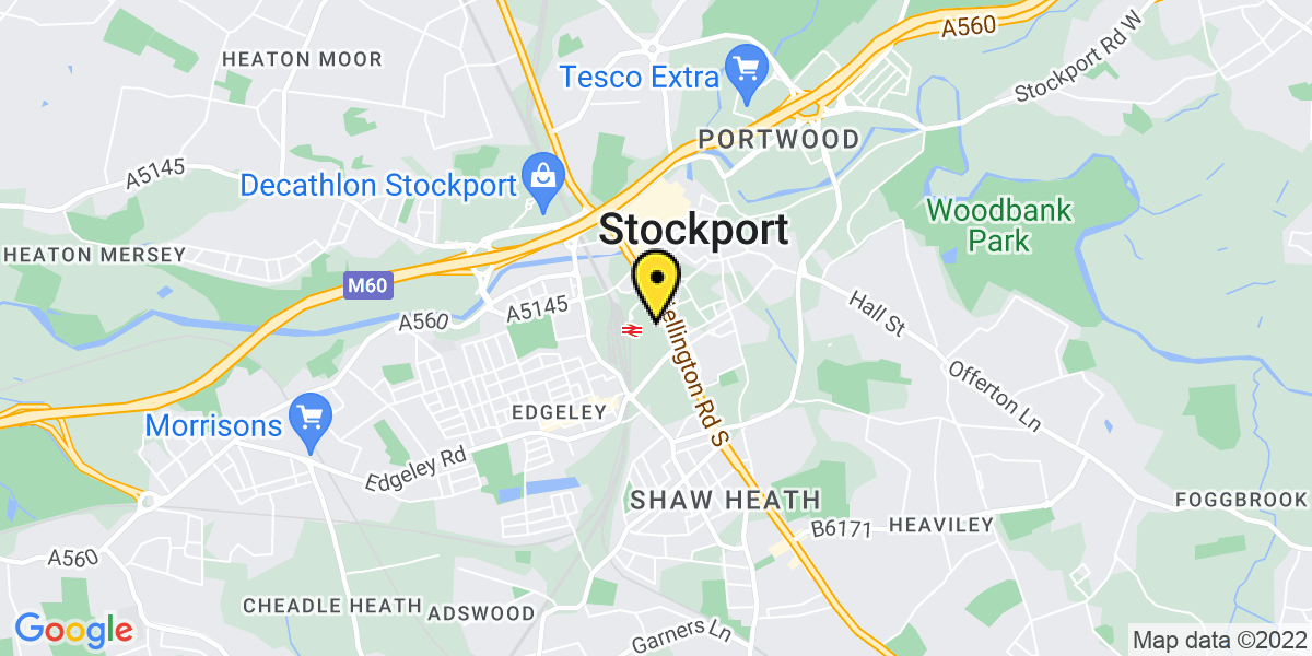 Map of Stockport Exchange Station