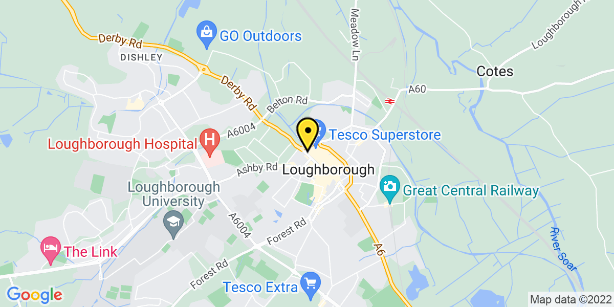 Map of Loughborough The Rushes