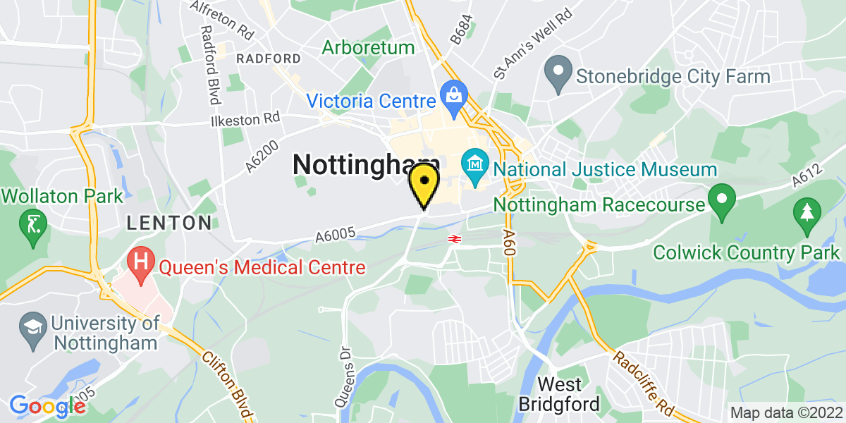 Map of Nottingham Maid Marian Way