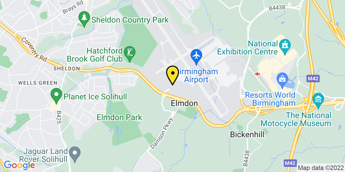 Map of Birmingham Airport Elmdon Hotel S/S