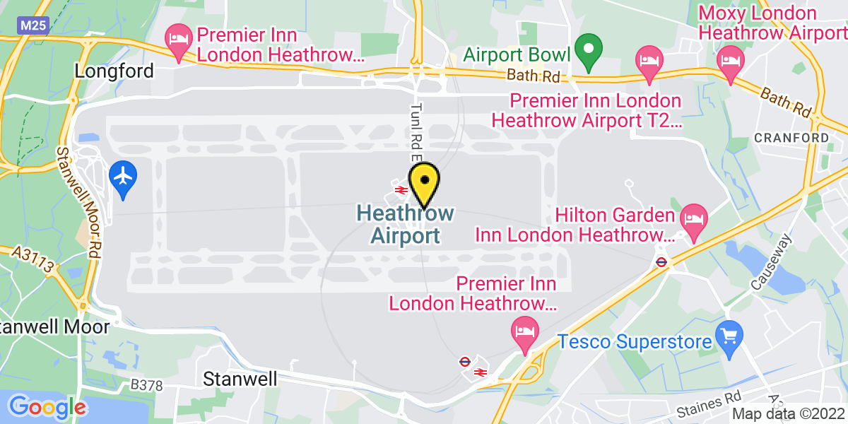 Map of Heathrow Meet and Greet T2